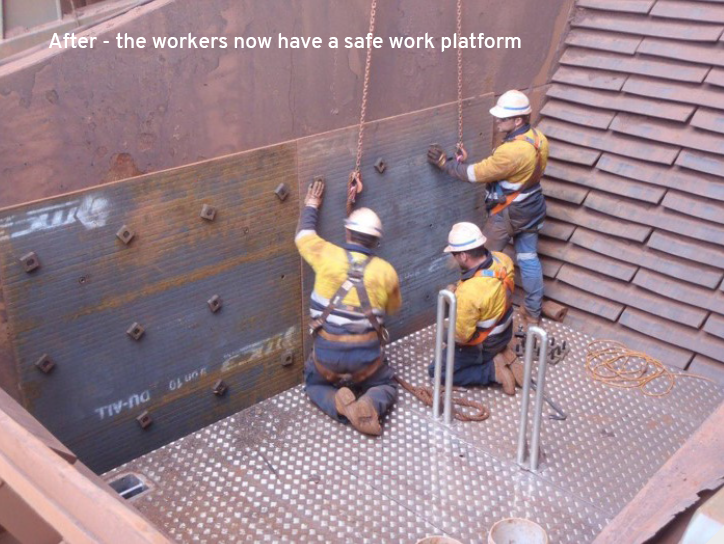 Mine Workers performing maintenance using chute platform.