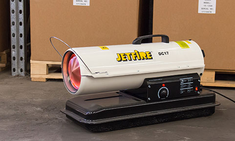 Jetfire Area Heater In Use to Heat a Warehouse