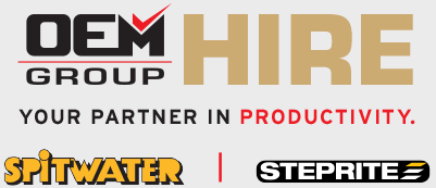 OEM Group Hire Logo, Your Partner in Productivity, Spitwater and Steprite