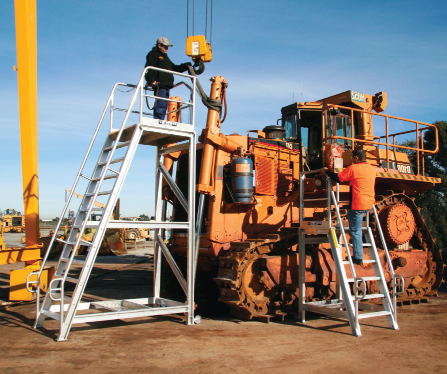Custom built Steprite Access Platform for Dozer maintenance being used to maintain Cat D10R Dozer
