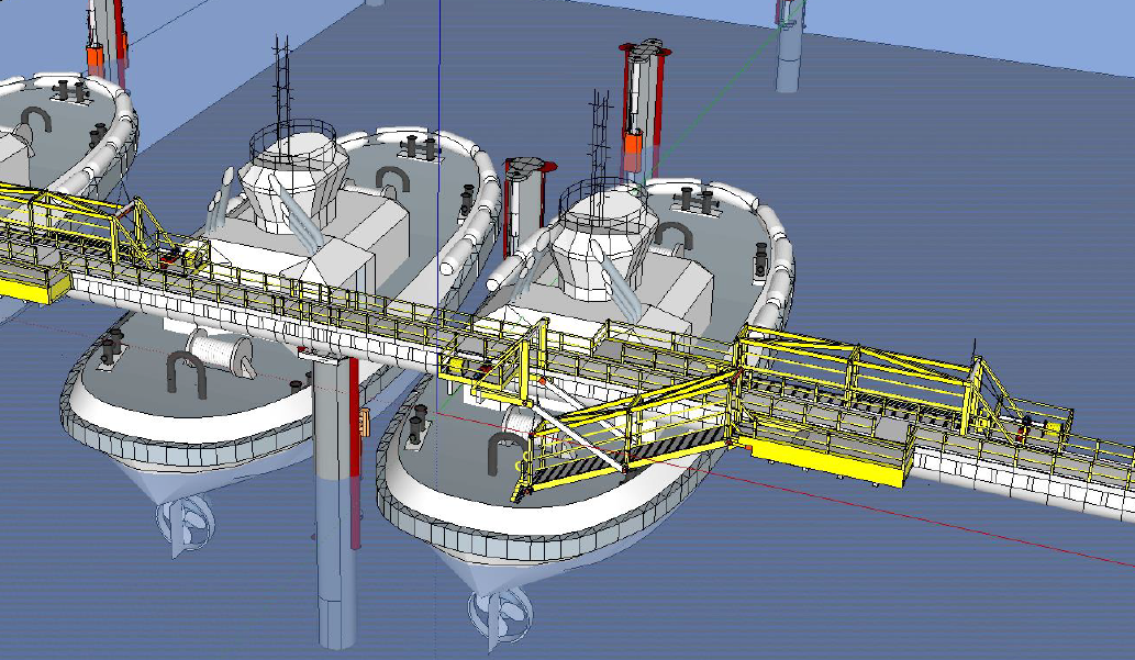 Wireframe Design Drawing for Tidal Access Platform onto Tug