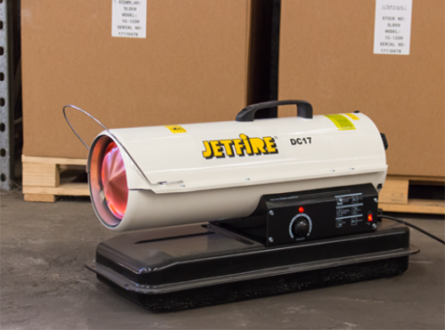 Jetfire Diesel Space heater heating a warehouse with boxes and pallets