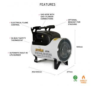 Jetfire J20A Gas Heater features on white background