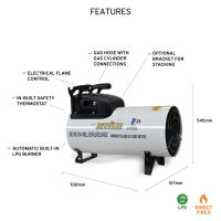 Jetfire J45A Gas Heater features on white background