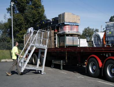 Steprite Safety Access Platform Being Wheeled to Truck