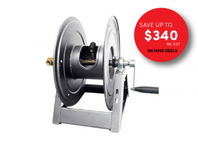 High Pressure Hose Reel for Pressure Cleaner on white background with promo savings