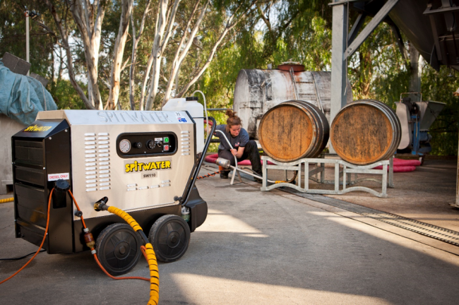 Cleaning Wine Barrels with a Spitwater Hot Water Pressure Cleaner