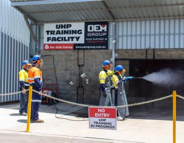 Using High Pressure Cleaning Equipment Training Session in Yard